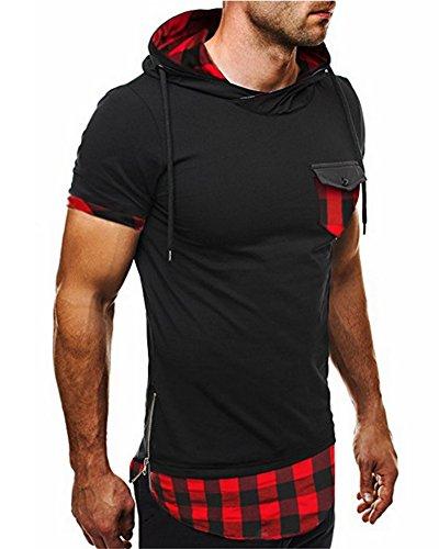 Herren T-Shirt mit Kapuze Kurzarm Hoodie Poloshirt Kariertes Hemd Rot
