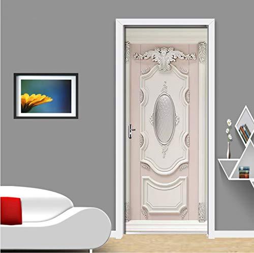 PANDABOOM 3D Geprägte Gips Geschnitzte PVC Selbstklebende Abnehmbare Tür Aufkleber Wandbild Tapete Aufkleber Wohnzimmer Schlafzimmer Von Decor Poster 45X200Cmx2Pcs -