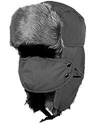 QHGstore Mens Thick Warm Fuax Fur Ski Snow Snowboard Winter Hat Cap Neck Ear Face Warmer Negro