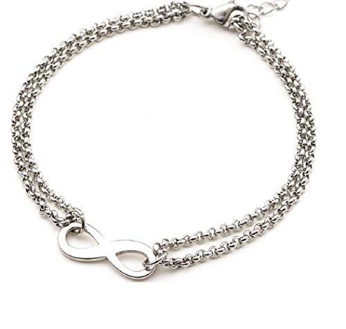 Heideman Armband Damen Infinity Armband aus Edelstahl Silber farbend poliert Armkette für Frauen mit Verlängerung Unendlichkeits Symbol Liebe Freundschaft (Edelstahl-infinity-armband)