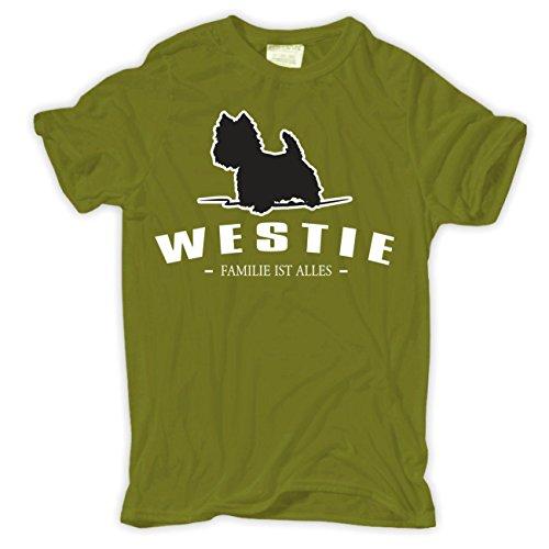 Männer und Herren T-Shirt Westie - Familie ist alles Größe S - 8XL Moosgrün