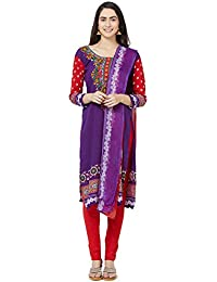 Kanchnar Women's Purple Crepe Unstitched Printed Churidar Dress Material