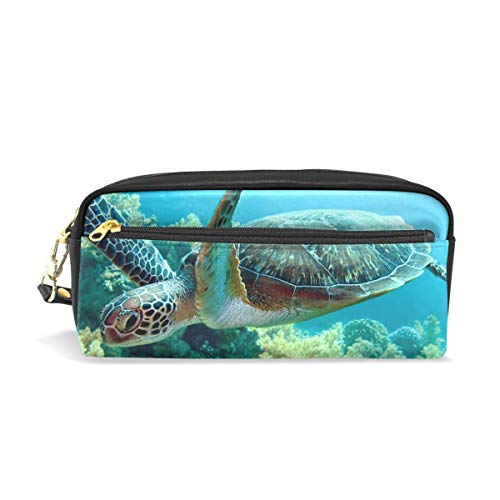 Grüne Meeresschildkröte tragbare PU-Leder Federmäppchen Schule Federbeutel Schreibwaren Beutel Fall Make-up Kosmetiktasche große Kapazität
