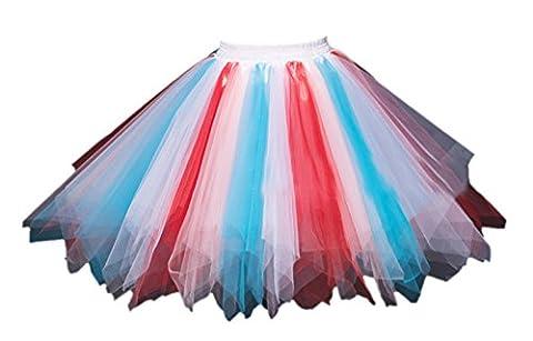 Honeystore Women's Short Vintage Ballet Bubble Puffy Tutu Petticoat Skirt Blue Red Pink