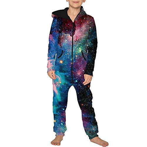 Jumpsuit Jogger für die Ganze Familie, Morbuy Unisex Junge Mädchen Kapuzenpullover Strampelanzug 3D Sternenklarer Himmel Printed Onepiece Sweatshirt Strampler Nachtwäsche (M(135-140cm),Star)