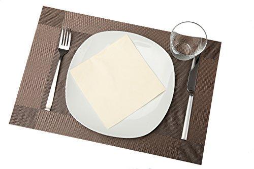 Tischsets Vinyl Glatte (bellendo Tischsets 4er Set | Platzset Pvc Kunststoff: Abwischbar, rutschfest | Design Platzdeckchen, edel und elegant - 45 x 30 cm - braun (dunkelbraun))
