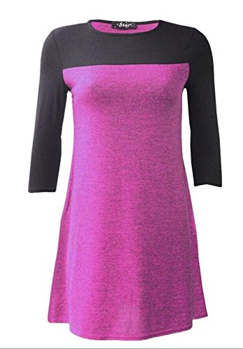 Generic - Robe - Patineuse - Manches 3/4 - Femme Fuchsia