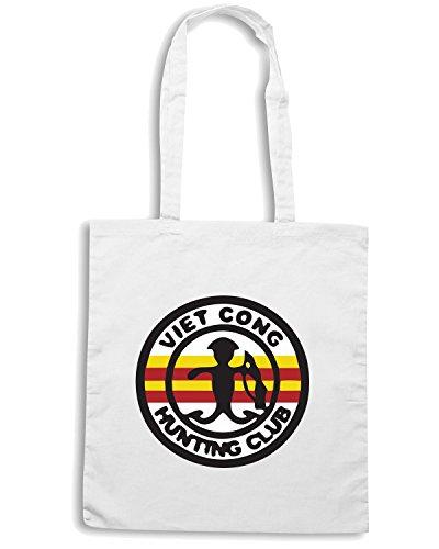 T-Shirtshock - Borsa Shopping TM0496 viet cong hunting club Bianco