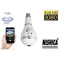 NISHICA V380-2 Hidden Spy Bulb Shape Fisheye 360° Panoramic Wireless WiFi 1.3 Mp 1080P HD IP CCTV Security Camera with Sd Card Slot with Indian Holder B22 [Watch Live] (Multi User Login)