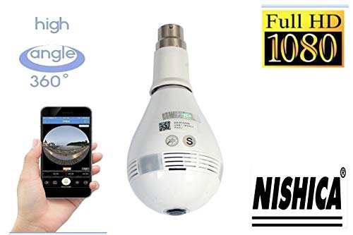NISHICA V380-2 Hidden Spy Bulb Shape Fisheye 360° Panoramic Wireless WiFi 1.3 Mp 1080P HD IP CCTV Security Camera with Sd Card Slot with Indian Holder B22 [Watch Live] (Multi User Login)