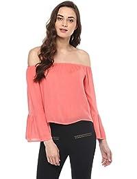 167bcaa9578b7 Pannkh Off-Shoulder Flared Sleeve Crop Women s Top