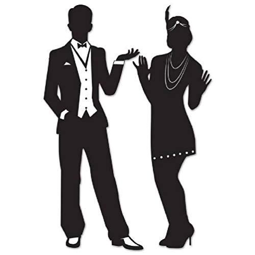 hersrfv home Great Roaring 1920er Jahre Silhouetten Flapper Mädchen und Mann Wanddekoration, 2 Stück (Jahre 1920er Mann)