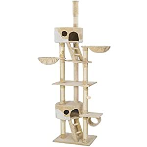TecTake Arbre à chat XXL grattoir avec différents éléments - beige blanc - hauteur : env. 240-260cm