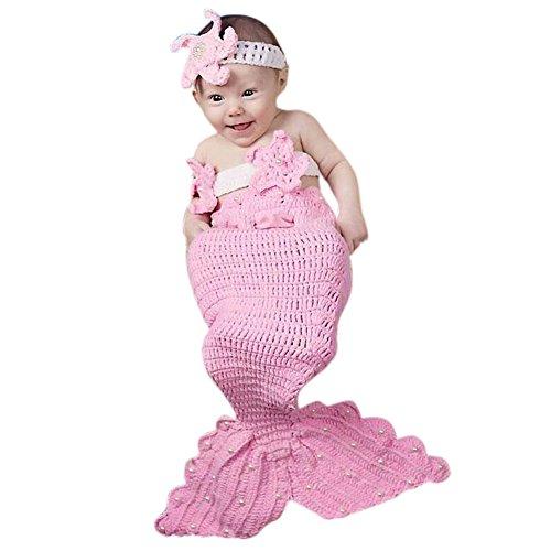 Deylay weiche handgemachte Häkelarbeit-Knit Baby-Fotografie Props Niedliche Baby-Meerjungfrau-Outfits, Meerjungfrau-Kostüm für Baby (0-9 Monate)