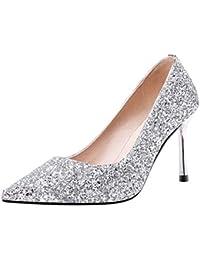c38cabfa380306 AIYOUMEI Damen Brautschuhe Stiletto High Heels Pumps Glitzer Abendschuhe  Hochzeit Schuhe