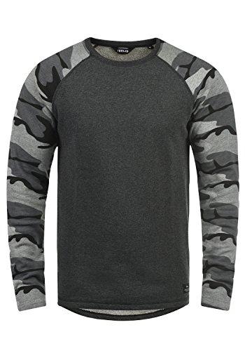 !Solid Cooper Herren Sweatshirt Pullover Pulli Baseball-Sweatshirt Mit Rundhals Und Camouflage-Ärmeln Aus 100{1f7b28a10cdf091f3f18213e0503e129b83a7e6bbf27fbb0e1688ea0a2816679} Baumwolle, Größe:M, Farbe:Dark Grey Melange (8288)