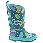 BOGS Girls Kids Welly Clouds Aqua Multi Waterproof Wellies Boots 78620-UK 1 (EU 33)