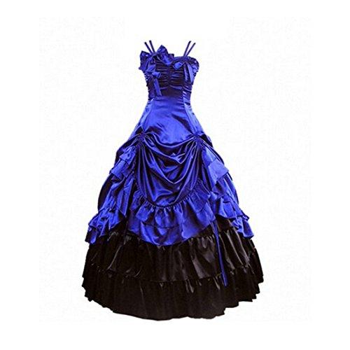 Partiss Damen Aermellose Kleid Gotische Viktorianische Lolita Ballkleid Ruffles Abendkleid