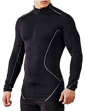 brokig hombre 1/4cremallera manga larga T Shirt, Apex Tech Athletic compresión Top Base capa gimnasio Entrenamiento...