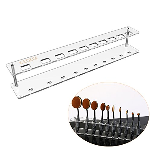 RUIMIO Cosmetic Display Shelf Oval Bürsten Halter Acryl 10 Loch für Oval Make-up Pinsel Set
