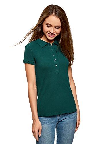 oodji Ultra Damen Pique-Poloshirt Basic , Farbe - Grün (6E00N) , Gr. L