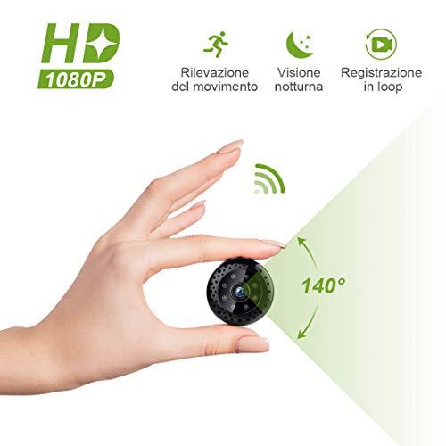 Kincam telecamera spia, hd 1080p wifi mini videocamera interno wireless mini camera spia hidden spy cam videocamera di sorveglianza con visione notturna/rilevamento del movimento per iphone android