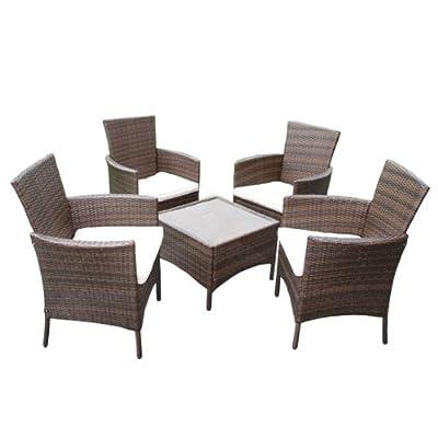 Garten-Garnitur ROM, Poly-Rattan, Tisch eckig + 4x Sessel ~ braun-meliert, mit Glasplatte