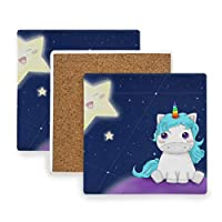 FANTAZIO Unicorn and Star Cup Mat Coaster for Wine Glass Tea Coaster with Varying Patterns Suitable for Kinds of Mugs and Cups