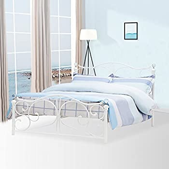 Florence Double Black Metal Bed Frame With Crystal Finials