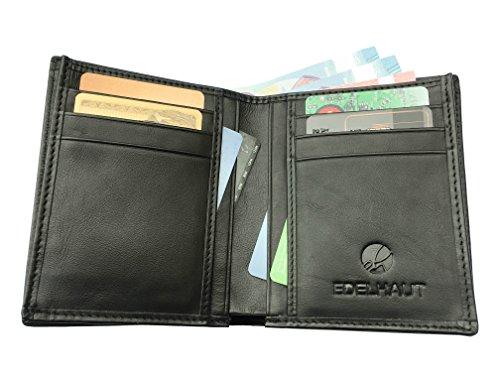 EDELHAUT Geldbörse ohne Münzfach aus echtem Leder in schwarz schwarz