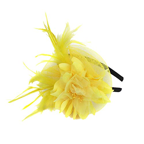 UJUNAOR Frauen Hochzeit Mützen Kappen Fascinator Hut Party Mütze Braut Kopfschmuck Federn Ribbons (Gelb)