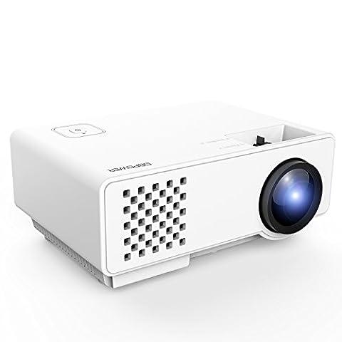 Beamer, DBPOWER RD810 LED Minibeamer, Multimedia Heimkino LCD Video Projektor Beamer unterstützt 1080P HDMI USB SD Karte VGA AV, Weiß