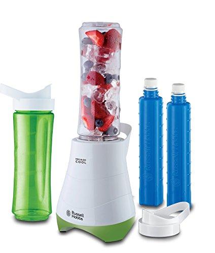 Russell Hobbs Mix & Go 21350-56 - Batidora de Vaso Individual, 300 W, Batidora Smoothies, Sin BPA, Blanco y Verde, 2 vasos de 600 ml y 2 tubos refrigeradores