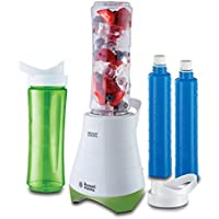 Russell Hobbs 21350-56 Mix&Go Cool Explore - Batidora de 300 W, 2 vasos con tapa de 600 ml para llevar, pica hielo, 2 tubos refrigerantes, libre de BPA, blanco/verde