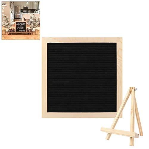 Message Board, Letter Board aus Holz und Filz - Buchstaben Tafel Buchstabenbrett Rillentafel Stecktafel mit 340 Weißen Buchstaben Einstellbar Ständer - 25x25 cm - Freien Buchstaben Board Im
