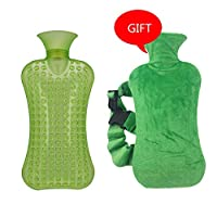 Yamyannie-Home 2 Liters large PVC Hot Cold Water Bottle Bag With Cover Winter Back Neck Hand Warmer Bag Hot Water Relaxing Heat Cold Heating Bag (Color : Green)