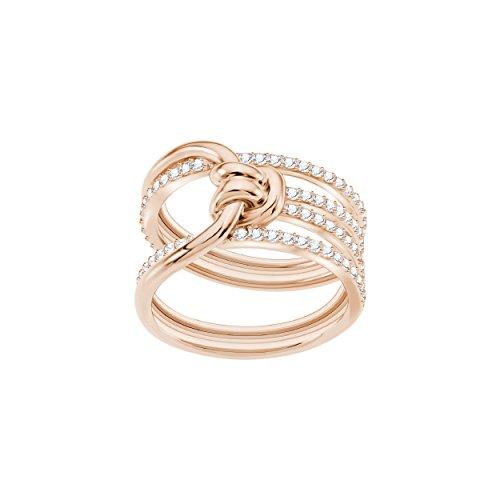 Swarovski anello lifelong wide, bianco, placcato oro rosa