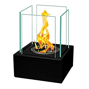 17x13 cm ECO Table Fireplace Bio-Ethanol Fireplace Black + 5X Ecological Replaceable Gel Bio-Fuel