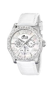 Reloj de mujer Lotus 15684/1 de cuarzo, correa de piel color blanco