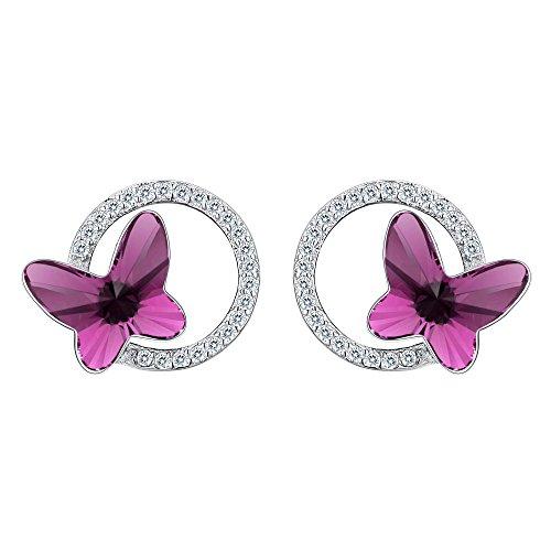 Clearine Damen 925 Sterling Silber CZ Schmetterling Kreis Stud Ohrringe Kristall von Swarovski Fuchsie (Cz Stud Ohrringe Sterling Silber)
