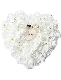 Mystery&Melody Almohada romántica en forma de corazón del anillo de bodas de la boda del amortiguador
