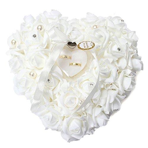 Mystery&Melody Almohada romántica en forma de corazón del anillo de bodas de la boda del amortiguador de la rosa blanca con la almohadilla floral elegante del anillo de satén (White)