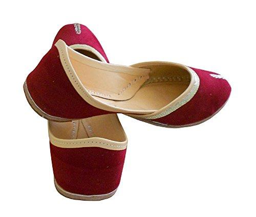 kalra Creations Chaussures de marié en cuir traditionnel Indien pour femme Bordeaux
