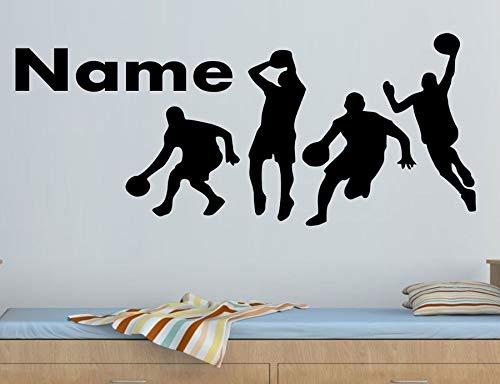 Shentop Anpassbare Name Basketball Player Muster Vinyl wandtattoo Junge Kind Teen Zimmer Dekoration tapete Kunst wandbild 95 * 42 cm -