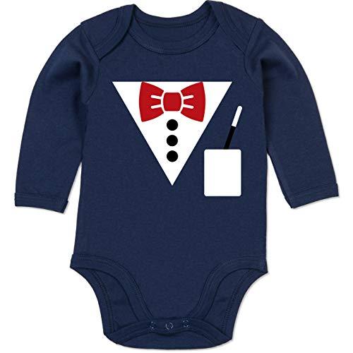 Shirtracer Karneval und Fasching Baby - Magier Kostüm - 6-12 Monate - Navy Blau - BZ30 - Baby Body (Winter Hexenmeister Kostüm)