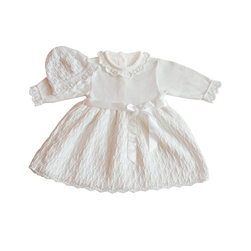 Eko Taufkleid für Mädchen Set Mütze und Strickkleid weiß, Größe:56, Farbe:weiß