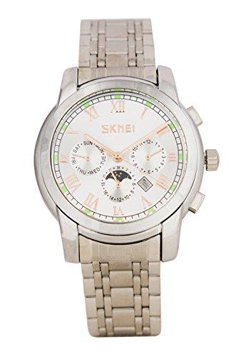 Baciami SKMEI Unisex Quarz Metall-Armbanduhr mit Datumsanzeige und Mondphasenanzeige, Zeitloses...