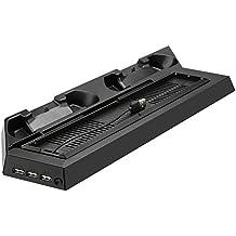 MOFIR refrigeración para PS4,soporte vertical de dos ventiladores silencioso para Playstation 4 con la estación de carga de dos Gamepads ,con puesto de USB y HUB,negro.