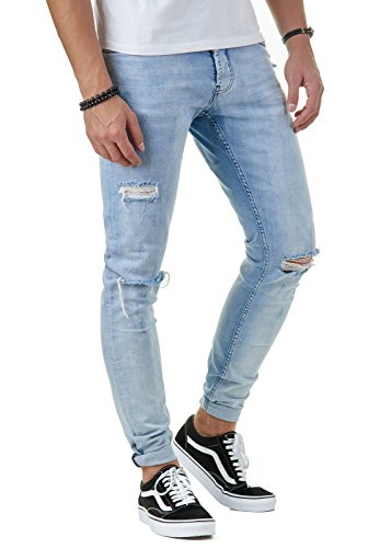 EightyFive Premium Denim Herren Destroyed Jeans Slim Fit Basic Hell-Blau EFJ170, Farbe:Blau, Hosengröße:W33 L32 (Premium-basic-hose)