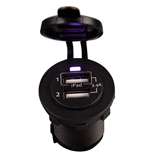 2x USB Buchse schwarz 3.4A